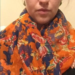 Accessories - Butterfly flower orange print scarf